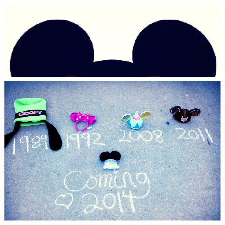 disney flat lay expecting baby announcement