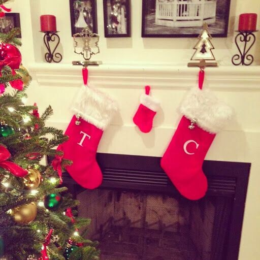 baby announcement with Christmas stocking