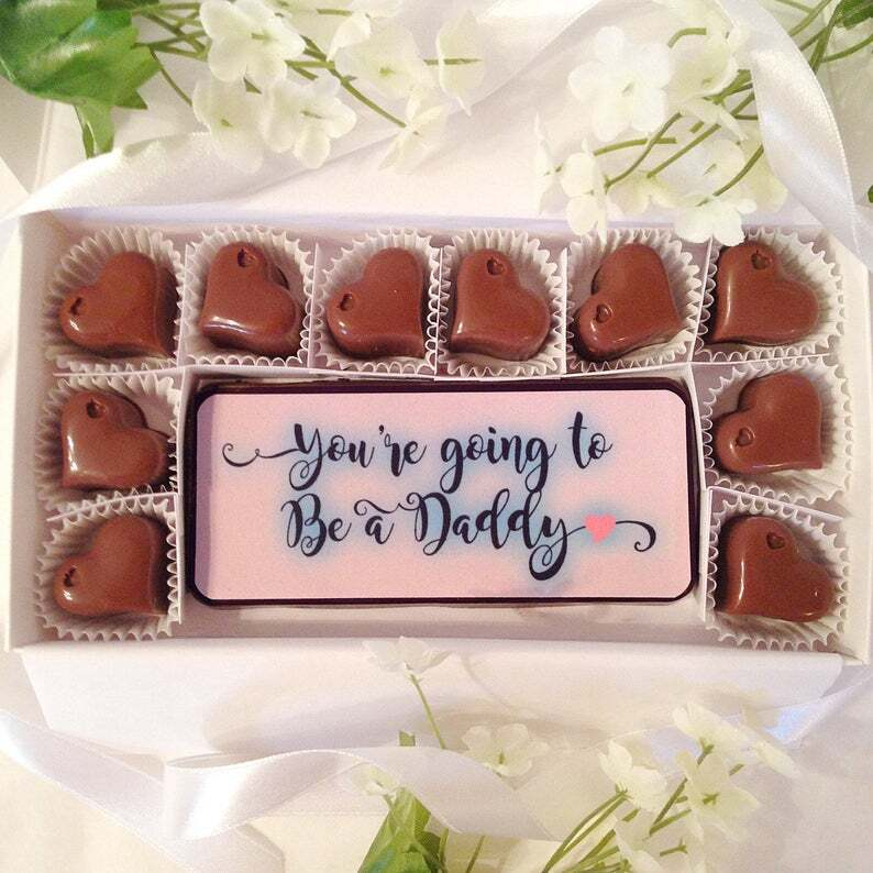 chocolates with pregnancy announcements