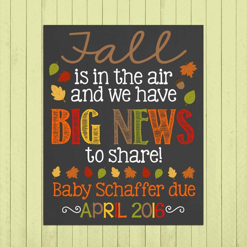 pregnancy announcement for fall
