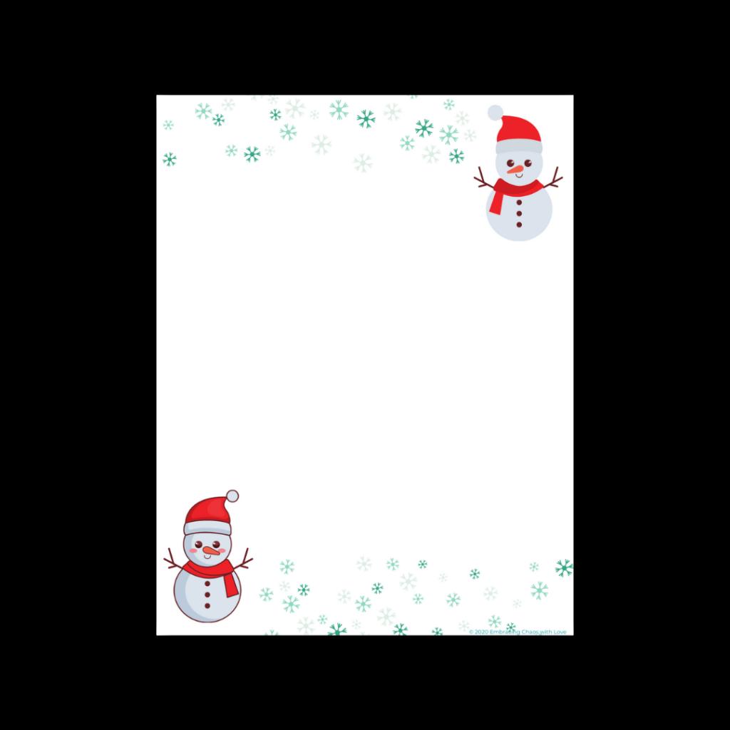 Printable blank snowman letter