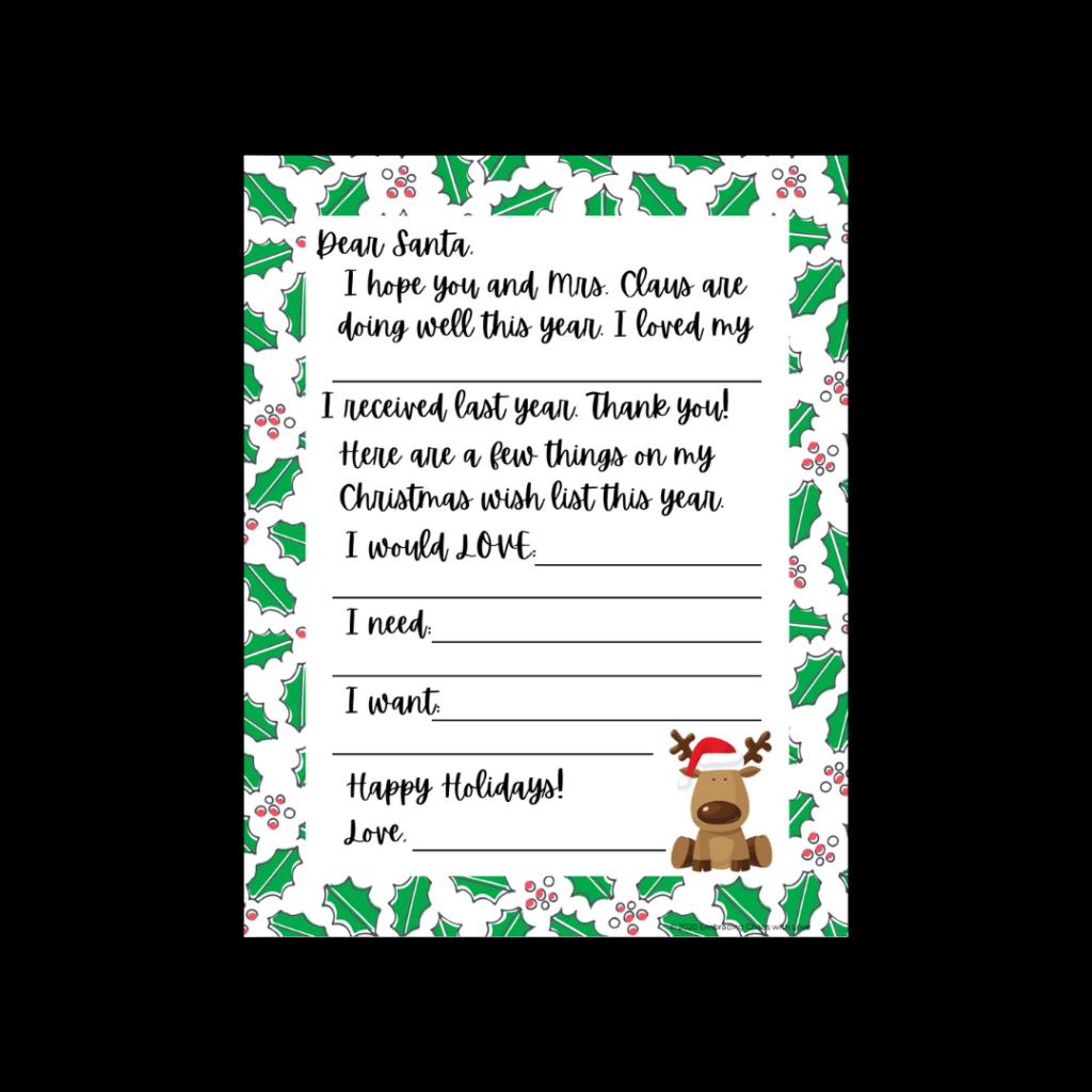 fill in letter to Santa