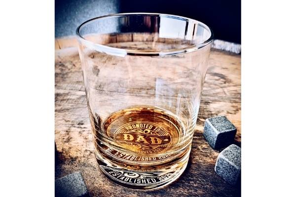 engraved whiskey glass for new dad